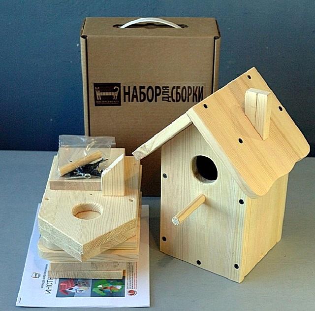 Полный комплект деревянных деталей для постройки скворечника – можно приобрести в магазине.