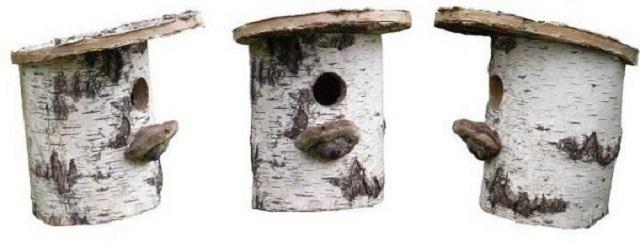 «Дуплянка», изготовленная из березового полена.