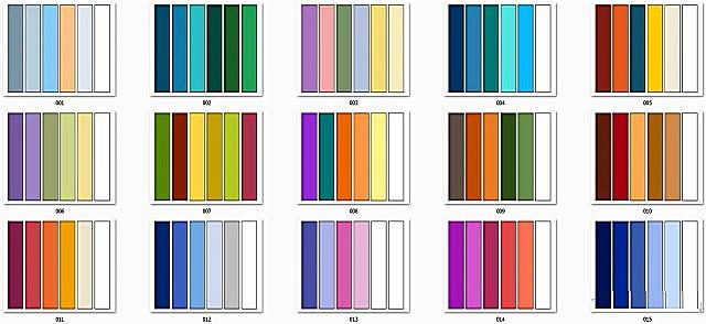 Пример таблицы сочетания различных цветов и их оттенков.
