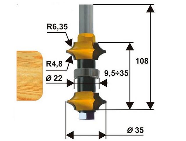 Фреза кромочная калевочная составная (насадная) – мастеру предоставляется возможность изменения расстояния между режущими кромками в зависимости от толщины заготовки.