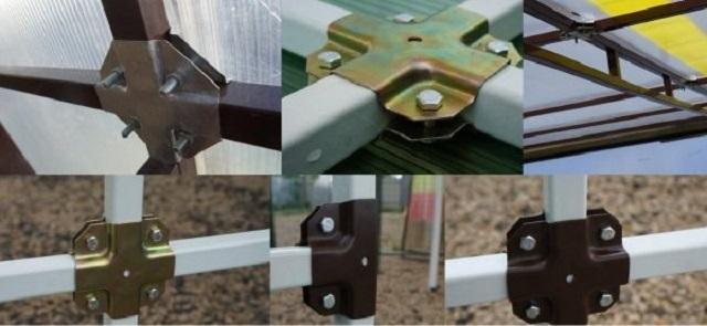 Соединение профильной трубы «крабами» - при желании на некоторых соединительных узлах вполне можно обойтись и без сварочных работ