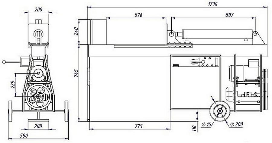 Чертеж гидравлического дровокола с реальными размерными параметрами.