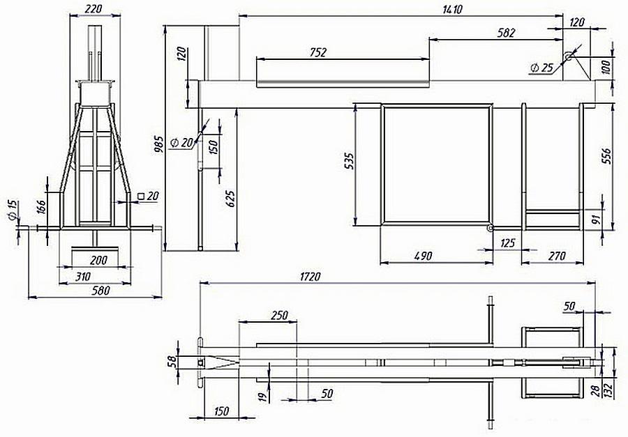 Чертеж станины дровокола. Основой ее конструкции являются два швеллера 12У.