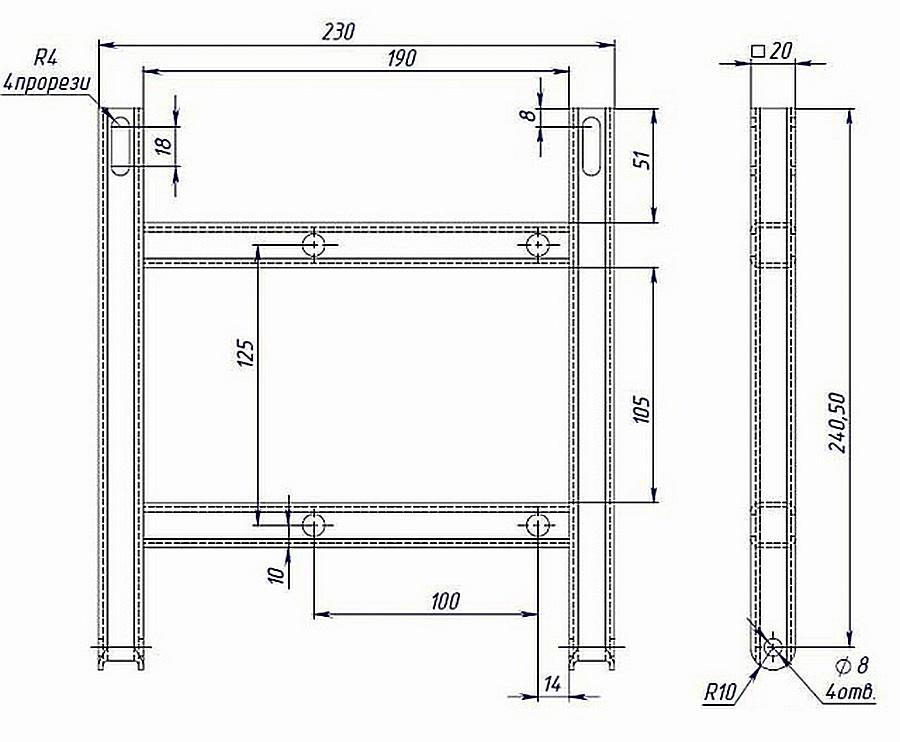 Чертеж для изготовления поворотной площадки, которая предназначена для натяжения ремней и закрепления электрического двигателя в нужном положении относительно станины.