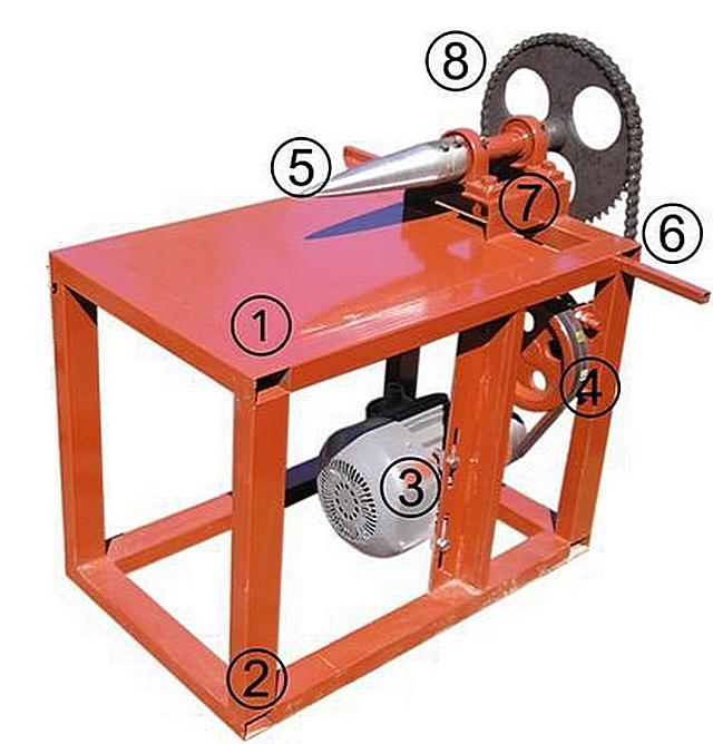 Этот вариант дровокола можно рассматривать в качестве примера при изготовлении собственного прибора.