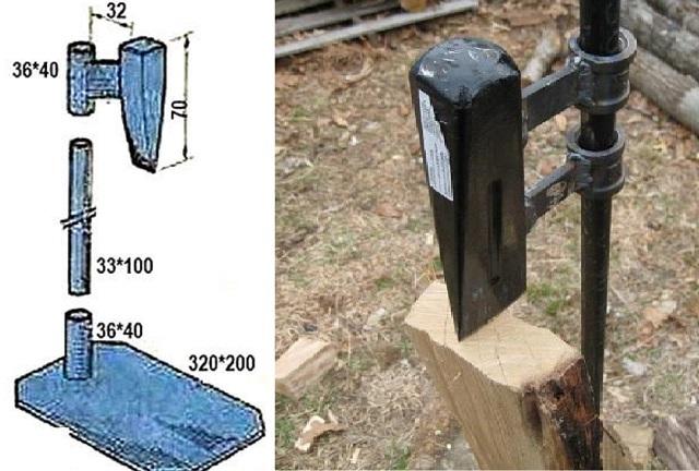 Более простая конструкция, но при этом и требующая куда более значительных усилий при проведении колки дров.