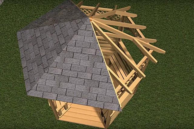 Обустройство крыши в беседке с шестью углами.