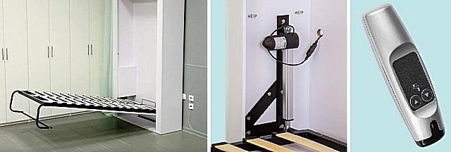 Кровать, оснащенная подъемником с электрическим приводом и пультом дистанционного управления