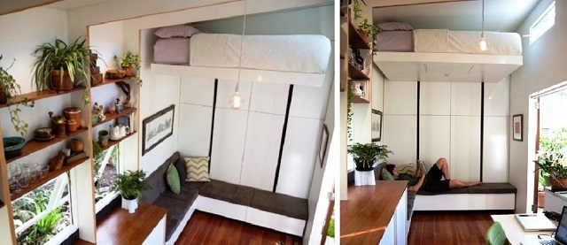 Кровать с настенным расположением механизмом перемещения, с рельсами по длинной стороне матраса