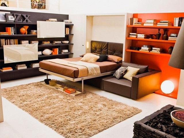 Комплекс из ночной кровати, убираемой в стену, и дневного дивана для нормального отдыха.
