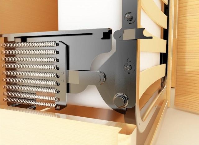 Пружинный механизм может быть использован как в вертикальной, так и горизонтальной конструкции кровати-трансформера.