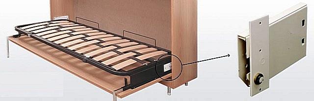 Односпальная складная кровать с установленным компактным пружинным механизмом, приводящим ее в вертикальное положение в поперечной плоскости.