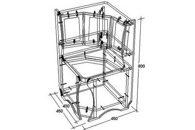 Схема взаимного расположения деталей углового диванчика и крепёжных элементов.