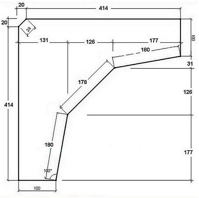 Чертеж для изготовления угловых фигурных планок – таких потребуется три штуки.