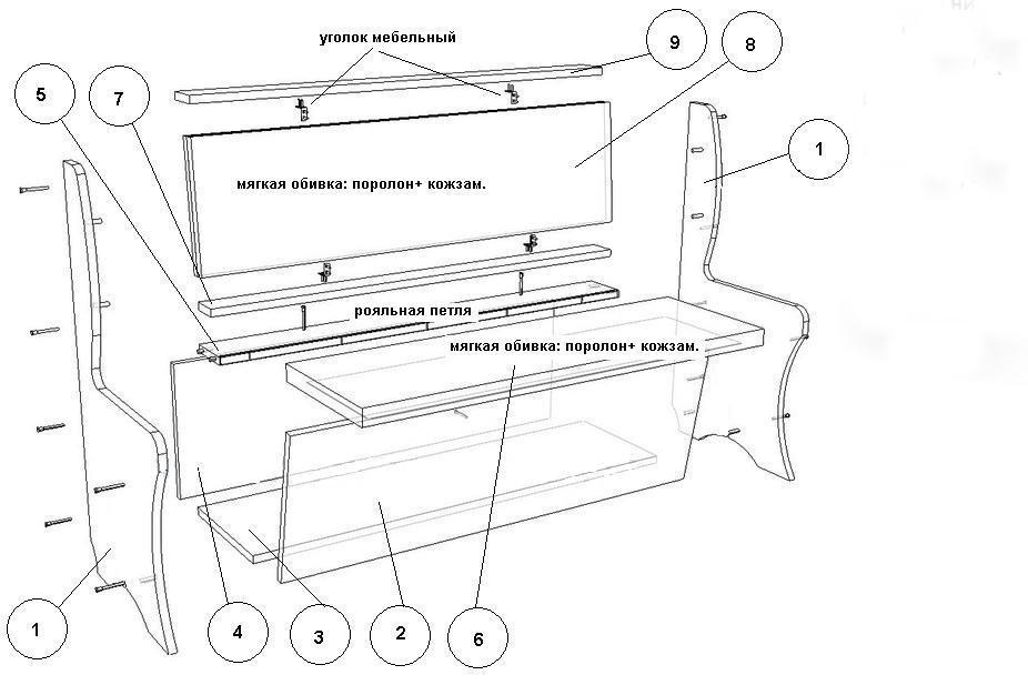 Деталировка большого и малого диванов также одинакова