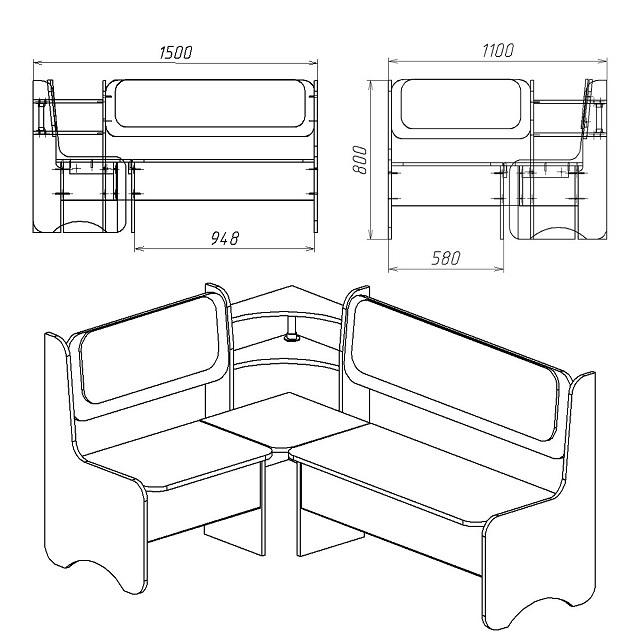 Общий чертеж монтируемого кухонного уголка.