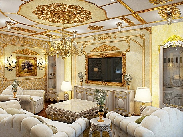 Стиль «барокко», адаптированный к современному интерьеру.