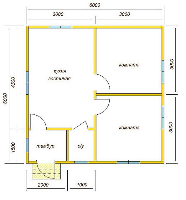 План дома 6 × 6 метров