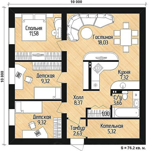 План-проект дома площадью в 100 м².