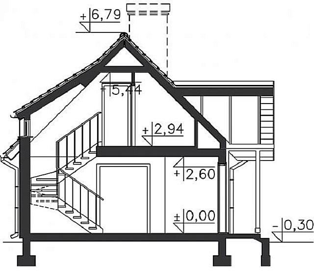 Общий план дома с мансардой.