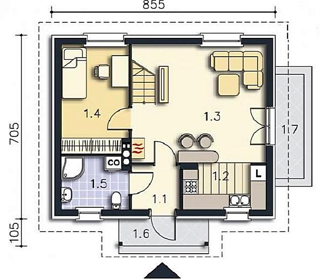 Основная часть дома (первый этаж).