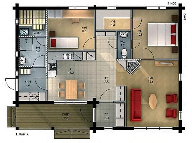Первый вариант планировки финского дома.