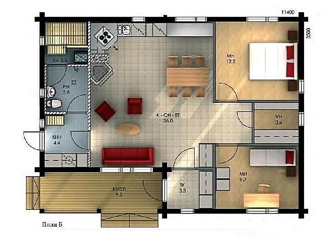 Второй вариант планировки аналогичного по размерам дома.