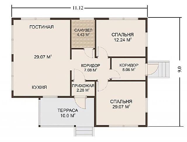 Планировка дома с двумя входами.