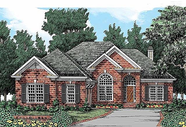 Эскиз фасада дома, выполненного в английском стиле.