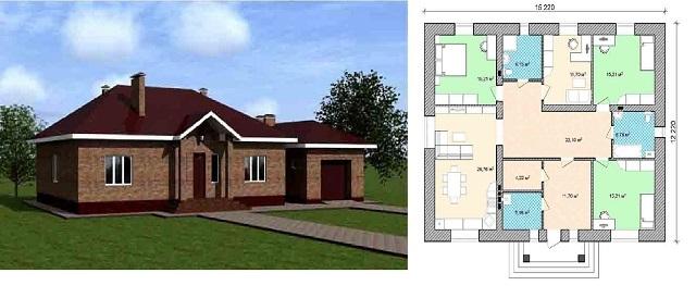 Один из вариантов проектов одноэтажного дома с планом размещения внутри него помещений различного предназначения.