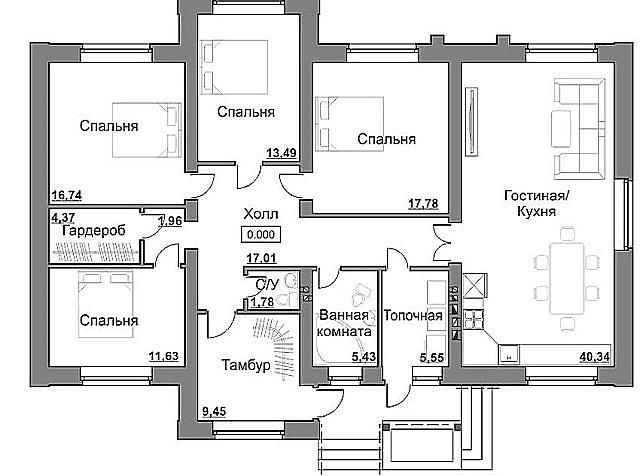 План одноэтажного дома с раздельными спальнями. Проходными в данном случае является тамбур и холл. Общая площадь этого строения 150 м².
