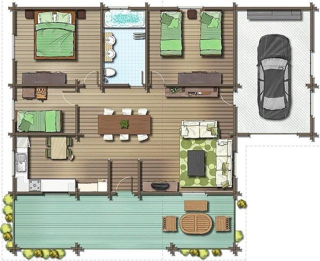 Внутренний план дома с размерами 8×10 м, рассчитанный на проживание пяти человек.