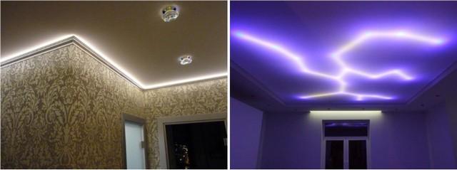 Декоративные эффекты подсветки, которые можно создать на натяжном потолке с помощью светодиодных лент.
