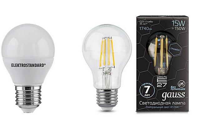 Светодиодные лампы в «классическом» исполнении, причем показанная справа модель очень достоверно имитирует старую лампу накаливания.
