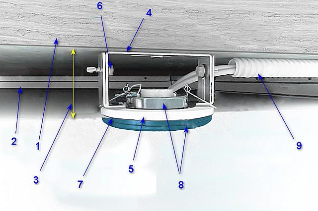 Одна из схем крепления точечного светильника на натяжном потолке