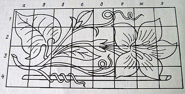 Перенос рисунка осуществляется с помощью размерной сетки.
