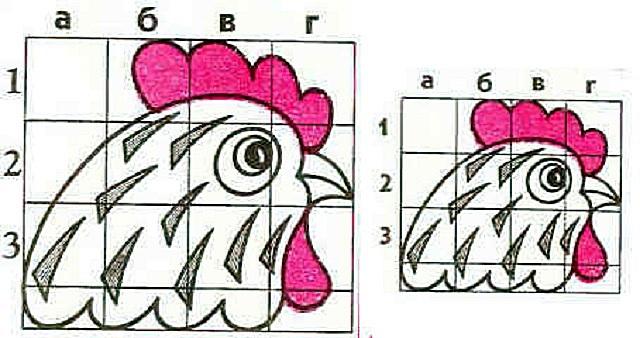 Пропорциональный перенос рисунка по квадратам.