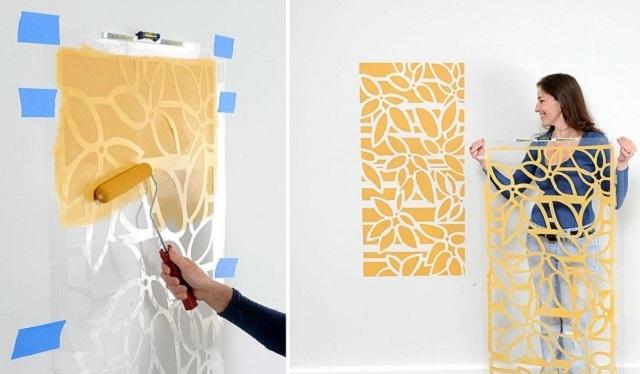 Нанесение монохромного рисунка на стену через трафарет с использованием валика