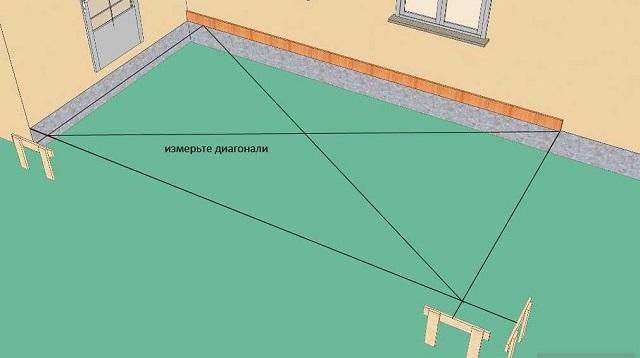 Разметка площадки под постройку веранды с проведением контрольных замеров диагоналей прямоугольника.