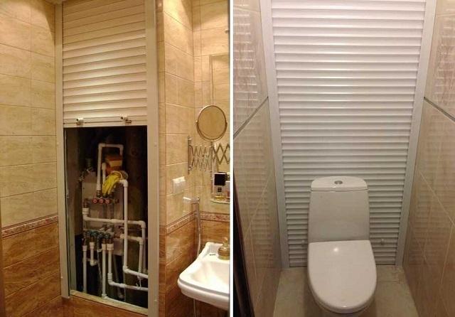 Роллеты, полностью закрывающие заднюю стенку туалета.