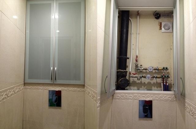 Пример встроенного сантехнического шкафа.