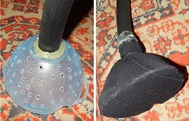 Самодельный фильтр грубой очистки, сделанный из пластиковой миски, в которой проплавлены отверстия.