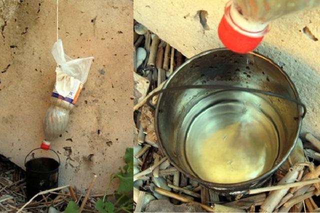 Вариант походной очистки воды через фильтр, изготовленный из пластиковой бутылки.