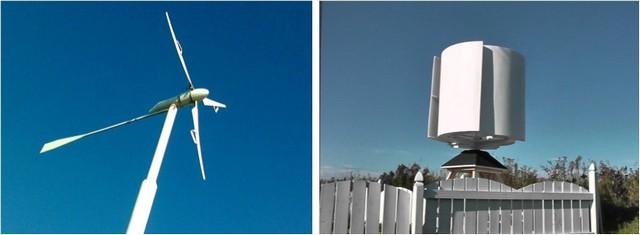 Компоновка ветрового генератора может быть горизонтальной (на рисунке — слева) и вертикальной.