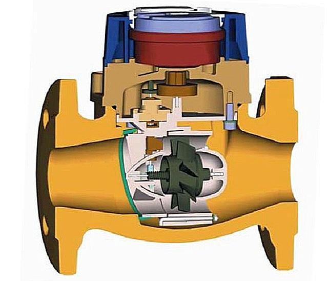 Пример конструкции турбинного счетчика расхода газа.