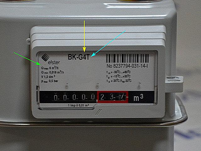 Полезная информация, размещённая на лицевой палеи газового счётчика: показатель номинальной пропускной способности в названии модели (желтая стрелка); максимальная пропускная способность (зеленая стрелка); литер «Т», говорящий о наличии термокорректора (голубая стрелка).