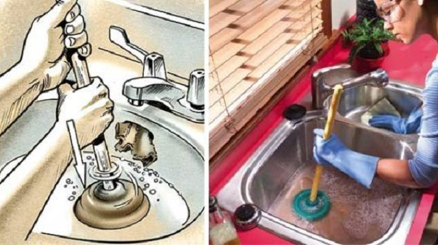 Прочистка канализации с помощью вантуза.