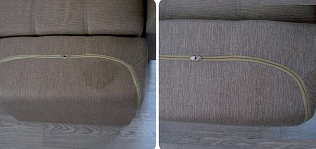Диванная подушка до и после очистки с помощью пылесоса «Samsung».