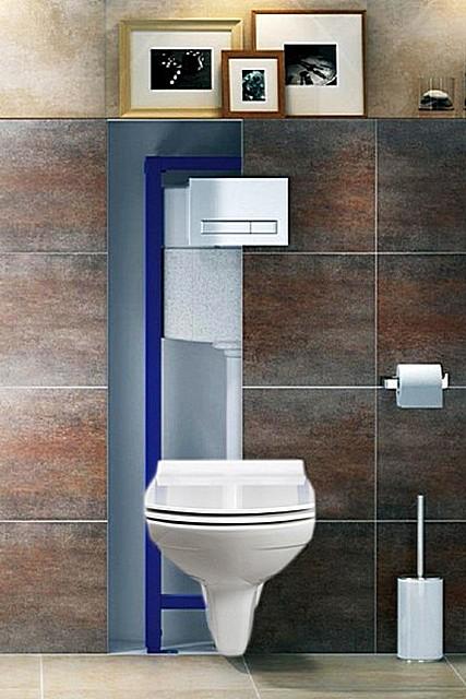 Унитаз с инсталляцией со встроенным сливным бачком – емкость скрывается за отделкой стены.