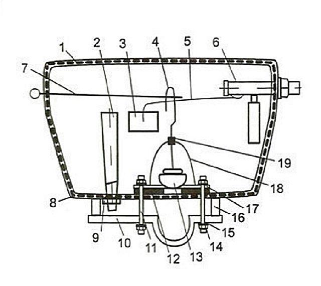 Схема внутреннего строения сливного бачка, оснащенного трубкой перелива.